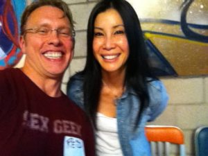 """Sex and relationship educator Reid Mihalko of ReidAboutSex.com taking a selfie with Lisa Ling during the filming of Our America, season 2, """"The Swingers Next Door"""" episode"""
