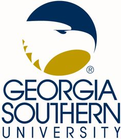 Logo image of Georgia Southern University with their trademarked blue, gold and white eagle mascot icon
