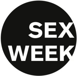 """logo for Yale University's Sex Week at Yale which is a black circle with """"SEX WEEK"""" in all caps in white inside the circle with the lowwer leg of the letter K breaking out of the circle"""
