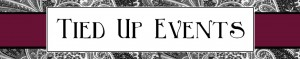 Tied Up Events dot com website logo which consists of black and white text in a fancy font against a white and purple background with art nouveau details