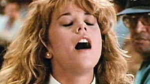 Meg Ryan faking an orgasm from the movie When Harry Met Sally
