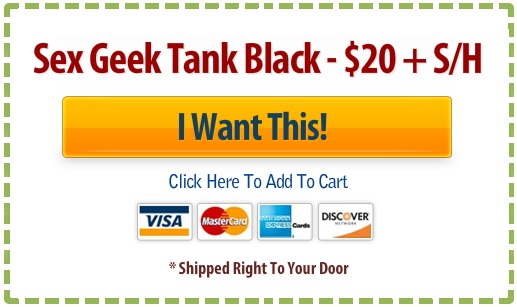 Buy button with credit card images for Reid Mihalko's Sex Geek tees - black tees