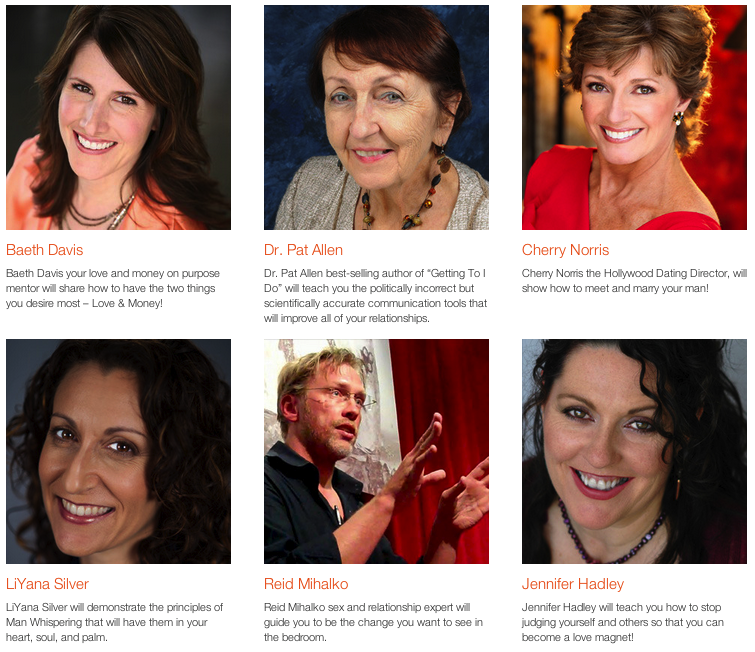 Headshot pics and short bios of Relationship Experts speaking along with sex and relationship expert Reid Mihalko in the 2012 Love On Purpose Telesummit