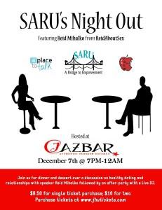 John Hopkins University SARU's Night Out event flyer with keynote speaker Reid Mihalko