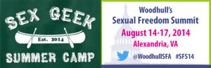 Logo for Sex Geek Summer Camp and Woodhull Sexual Freedom Conference 2014