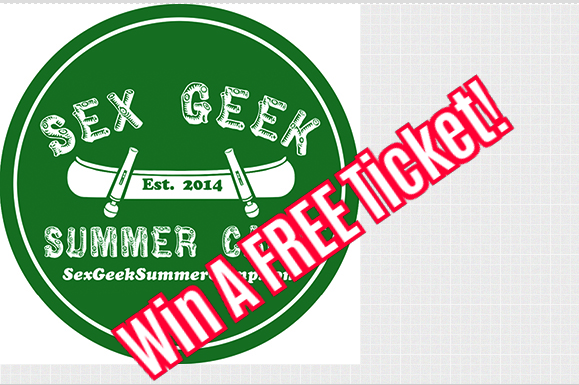 """Sex Geek Summer Camp's logo with """"Win a free ticket"""" printed across the logo in white letters outlined in red"""
