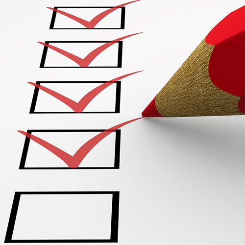 check list boxes being check off by a red pencil