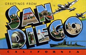 Classic postcard jpg of San Diego