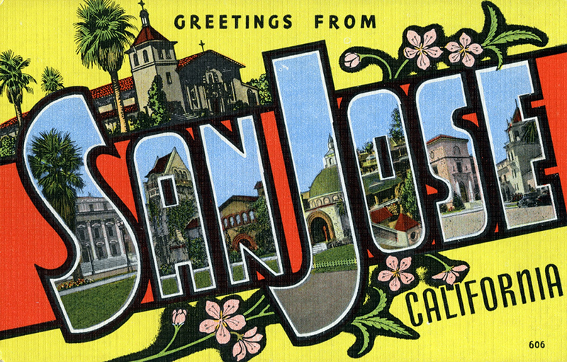 """Postcard image with """"Greetings from San Jose, California"""" across it with the letters in the city name containing images from that city"""