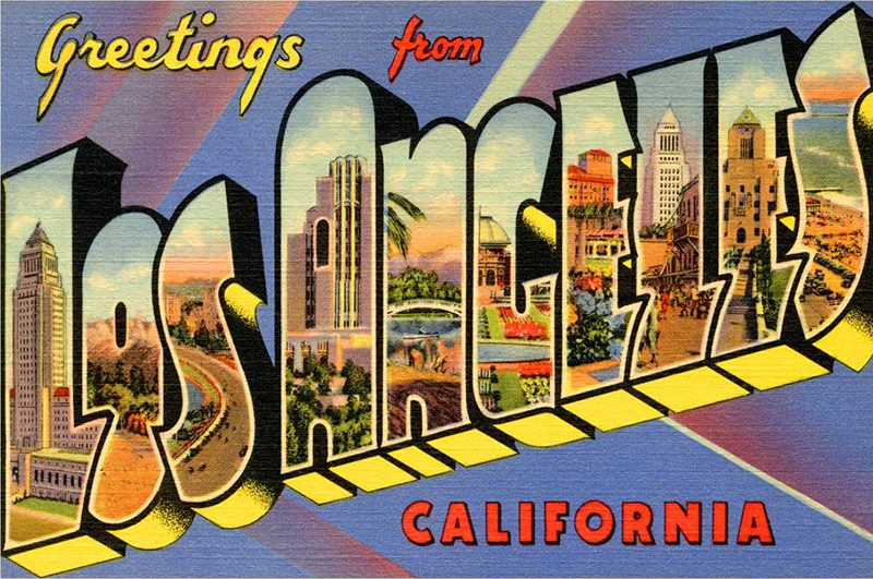 """Classic postcard jpg of """"Greetings from Los Angeles California"""" postcard with illustrations of the city of Los Angeles appearing inside each of the letters spelling Los Angeles."""