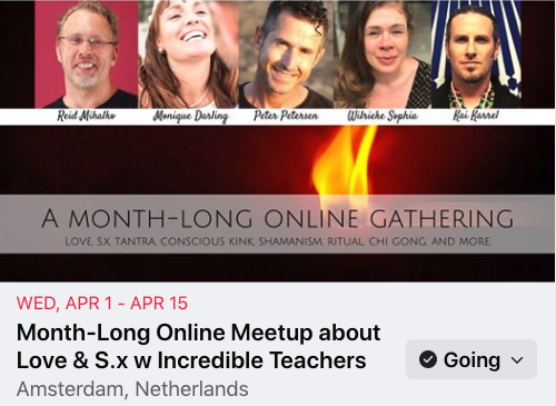"""Promotional image from Facebook featuring Reid Mihalko, Monique Darling, Peter Peterson, Wilrieke Sophia, Kia Karrel with the text """"Month-Long Online Gathering"""""""