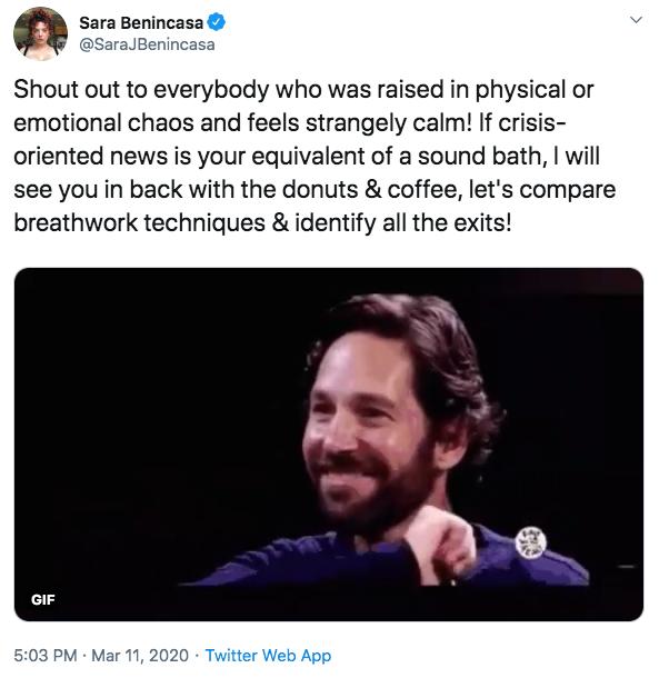 screenshot of a tweet by Sara Benincasa