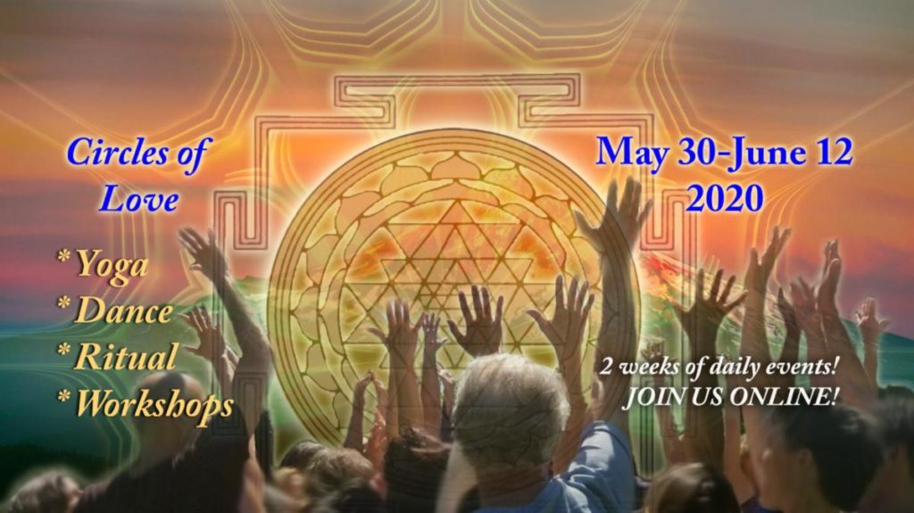 Online Tantra Festival banner with a crowd of diverse people reaching for the sky and the sky is a mandala with event info across it in text