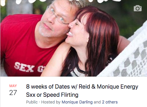 Screen capture from Facebook event post with the picture of Reid and Monique being silly, Monique sticking her tongue out and touching Reid's cheek while Reid looks surprised.